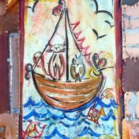 Cornice realizzata a patchwork con diverse lastre di rame ossidato e bruciato; ornamenti in stagno. Stefano Carloni