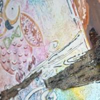 Cornice realizzata in piombo battuto e rame levigato, lucidato. Inserti di corteccia.  Stefano Carloni